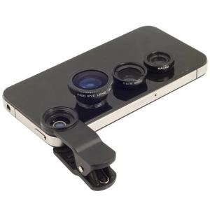 Set Kit 3in1 Lentile Profesionale pentru Telefon sau Tableta - Fish Eye Macro Wide Angle - GRI [2]