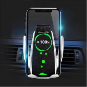 Incarcator , suport auto wiereless inteligent , ,QC wireless fast charging, Silver-Black, putere in iesire 5w,7,5,10w, compatibil cu toate tipurile de telefon care suporta incarcare wireless.insta - C [2]
