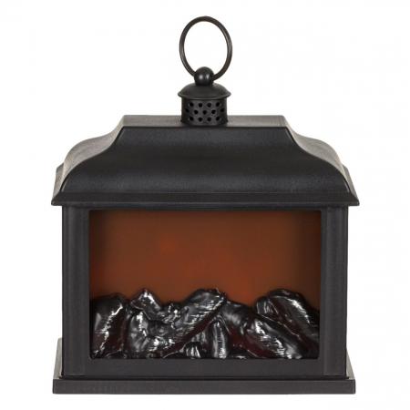Semineu decorativ tip semineu, pe baterii, model dreptunghiular, Negru, 21x10x20 cm [0]
