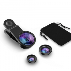 Set Kit 3in1 Lentile Profesionale pentru Telefon sau Tableta - Fish Eye Macro Wide Angle - GRI [0]