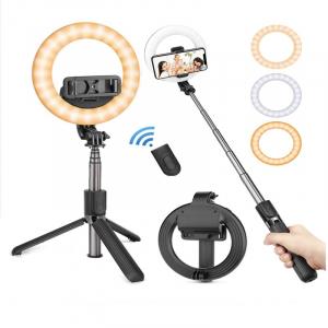 Lampa circulara Make up ,Selfie Stick Bluetooth L07, portabil, LED 5 inch, 90 cm [1]