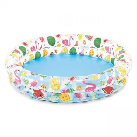 Piscina gonflabila pentru copii, model flamingo si fructe, 1,22 m x25 cm,multicolor