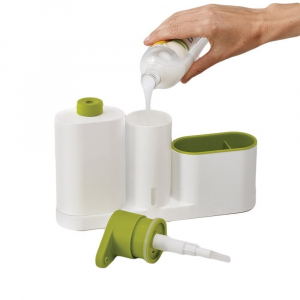 Set organizator de chiuveta 3 in 1, Dispenser Detergent de Vase, Sapun Lichid si Suport pentru Burete de Bucatarie, alb/verde [3]