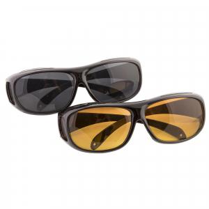 Set 2 ochelari pentru condus ziua si noaptea, HD VISION, lentila portocalie si fumurie, unisex [1]