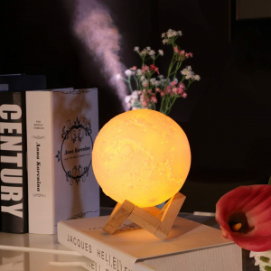 Lampa 3D Aromatherapy Diffuser Umidificator lumina alb + galben imprimata 3D reincarcabila cu acumulator,modelul nou cu Stand Lemn cadou AK3800 [3]