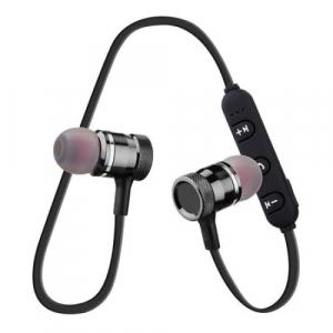 Casti Wireless Bluetooth 4.2 Magnetice Rovtop ,Microfon, Negru, cablu incarcare [1]