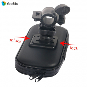 Suport husa telefon mobil pentru bicicleta si motocicleta, rezistent apa si socuri, touchscreen, 360* rotativ, negru [3]