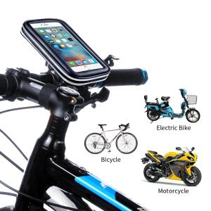 Suport husa telefon mobil pentru bicicleta si motocicleta, rezistent apa si socuri, touchscreen, 360* rotativ, negru [4]