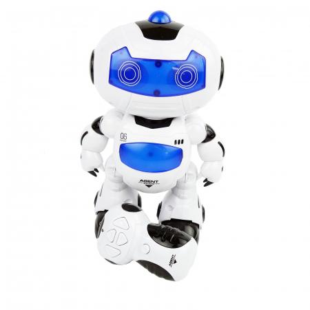 Robot inteligent, cu miscare, muzica, sunete, dans, 22 cm, alb/albastru [2]