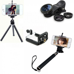 Set 5 in 1 lentile profesionale (wide) + selfie stick + mini trepied + suport smarthphone universal [0]