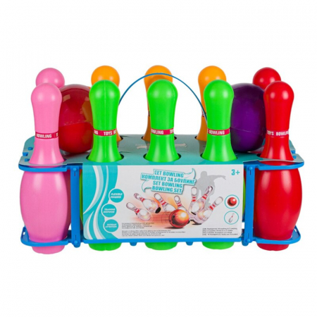 Set bowling pentru copii, 10 popice, 2 bile, 3 ani+, Multicolor [3]