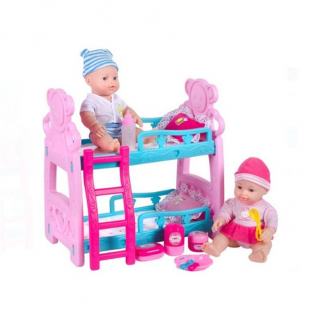 Set complet cu pat supraetajat cu doua papusi bebelusi, fata si baiat, pentru copii , ATS + 3 ani