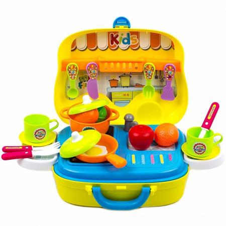 Set de joaca bucatarie Creative valiza galbena 26 piese [0]