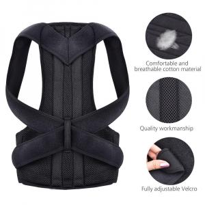 Suport corector pentru spate cu bretele ajustabile, unisex, negru [2]