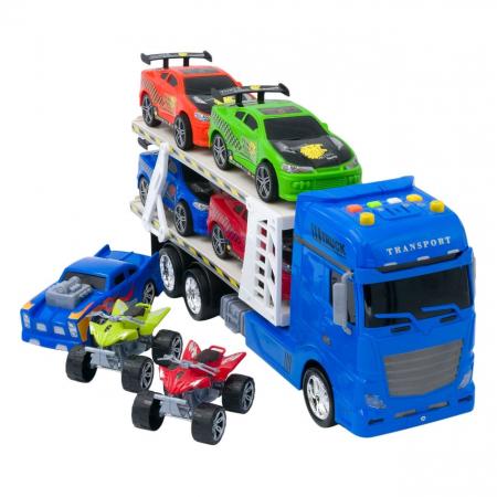 Tir albastru cu platforma + 4 masini sport + 1 masina de curse + 2 ATV-uri multicolore, are lumini si sunete realiste, pentru copii , ATS + 5 ani [0]
