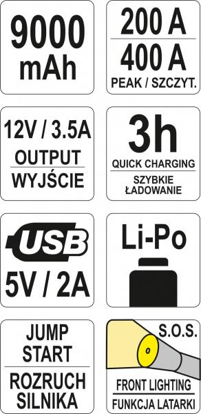 Acumulator Extern YATO, Pentru Pornire/Incarcare Auto, Li-Po, 9000mAh, cu Functie Boost 9