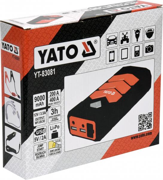 Acumulator Extern YATO, Pentru Pornire/Incarcare Auto, Li-Po, 9000mAh, cu Functie Boost 7