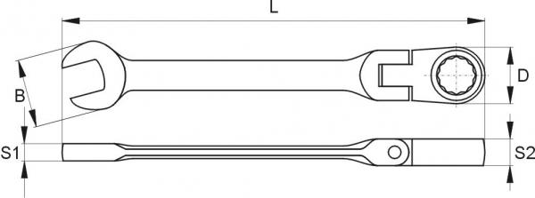 Cheie Combinata YATO, cu Clichet, Cap Flexibil, 72T, CR-V, 8 mm [1]