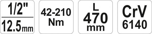 Cheie Dinamometrica YATO, 1/2 inch, 42 - 210Nm, 470mm [6]