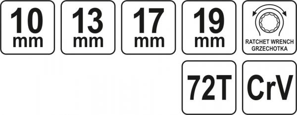 Cheie Inelara Dubla YATO, cu Clichet, CR-V, 72T, 10 X 13 X 17 X 19mm 2