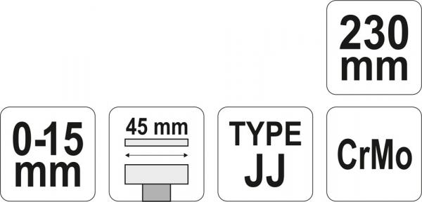Cleste Autoblocant YATO, Pentru Tinichigerie, Tip JJ, 0 - 15mm, 230mm 3