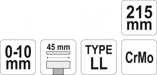 Cleste Autoblocant YATO, Pentru Tinichigerie, Tip LL, 0 - 10mm, 215mm 3