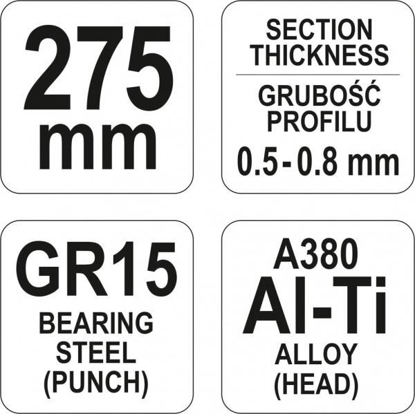 Cleste Imbinare YATO, Pentru Tabla, 0.5 - 0.8mm, 275mm [2]
