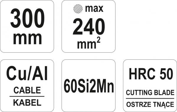 Cleste Pentru Cabluri YATO, Cu-AL, 300mm/240mm 2