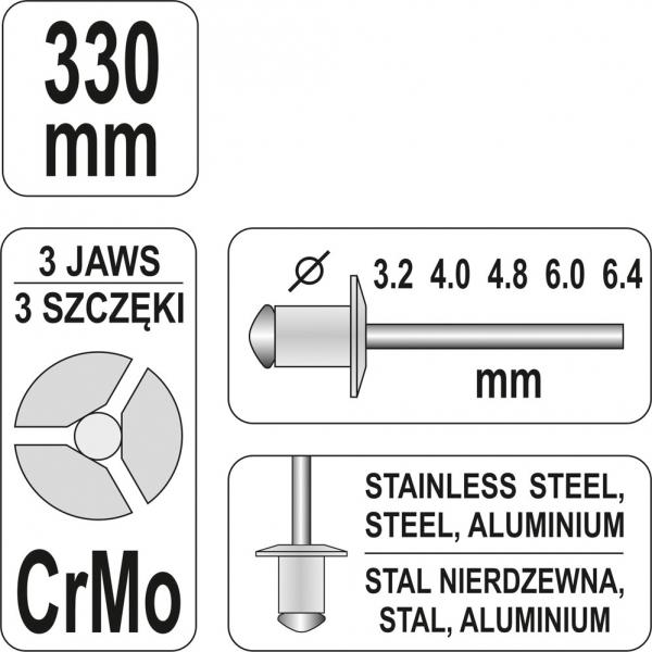Cleste Popnituri YATO, 3.2 - 6.4mm, 330mm 3
