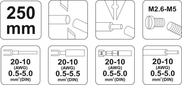 Cleste Sertizat Conectori YATO, Lama 4mm, 250mm 2