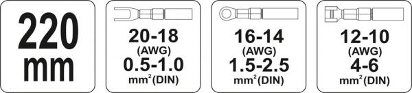 Cleste Sertizat YATO, Pentru Conectori, 0.5 - 6mm [2]