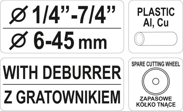 Cleste Taietor Tevi YATO, 1/4-7/4, 6 - 45mm 2