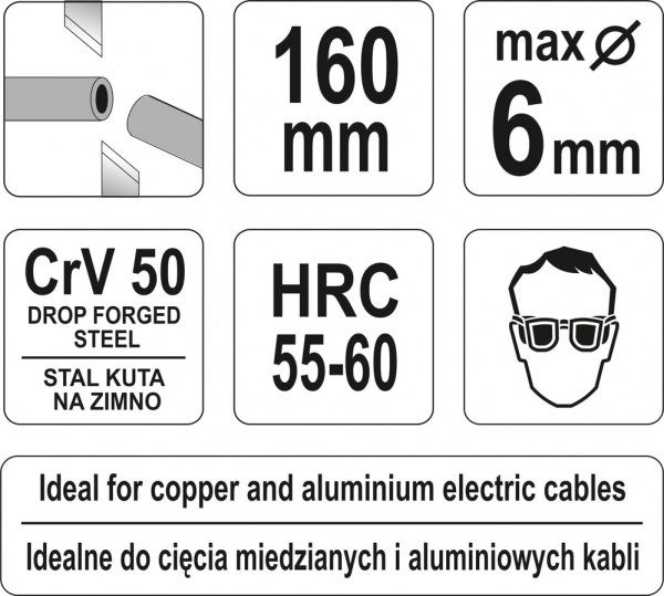 Cleste Taietor YATO, Pentru Cabluri Electrice, CR-V, 160mm 2