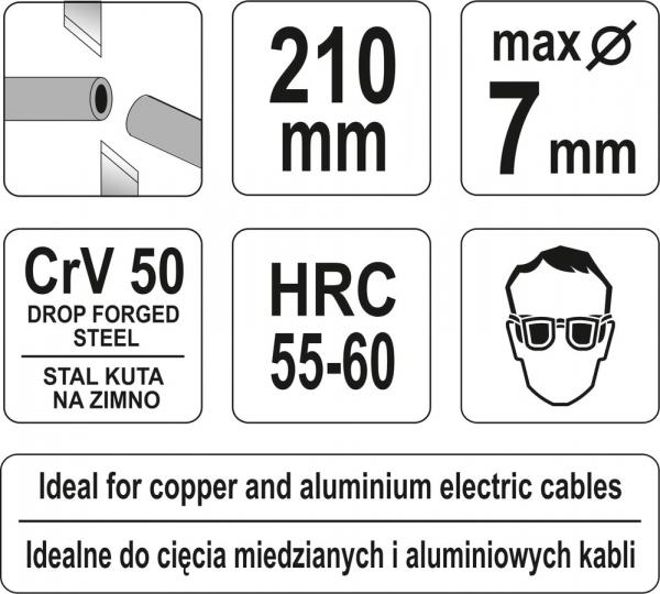 Cleste Taietor YATO, Pentru Cabluri Electrice, CR-V, 210mm [2]
