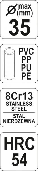 Cleste Taietor YATO, Pentru Tevi, PVC/PP, 35mm 3