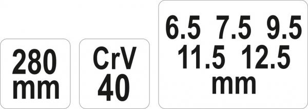 Cupla Pentru Cheie Tubulara YATO, CR-V, 280 mm [1]