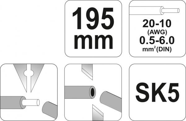 Decablator YATO, Automat, 195mm, 0.5-6mm 2