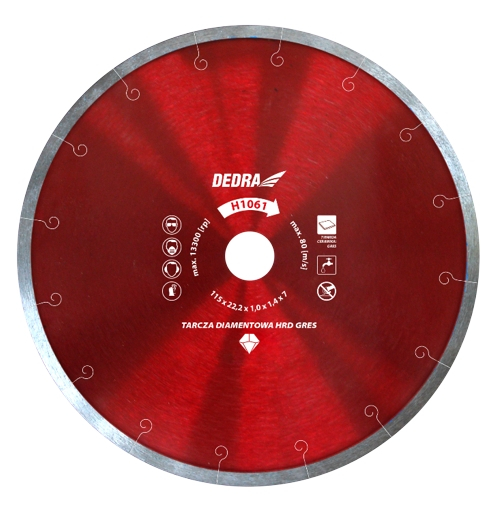 Disc diamantat DEDRA, turbo, ultra-subtire, 115mm, rosu 0