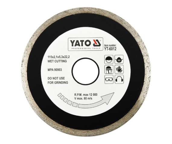Disc diamantat YATO continu, taiere umeda 0