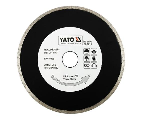 Disc diamantat YATO, continu, taiere umeda, 180mmX25.4mm [0]