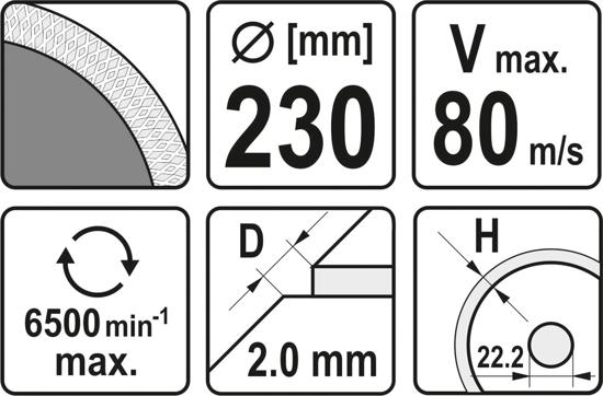 Disc diamantat YATO, turbo, ultra-subtire, 230mm [2]