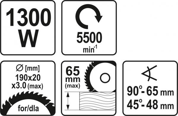 Fierastrau circular YATO, 1300W, 190mm 6