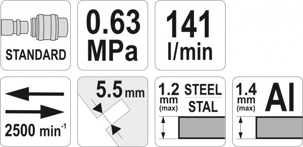 Foarfeca Pneumatica YATO, 2500 rpm 3