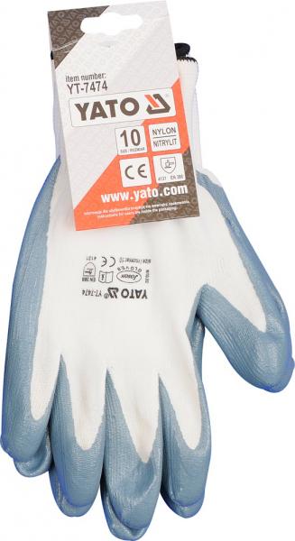 Manusi protectie YATO, nylon/cauciuc, marimea 10, gri [1]