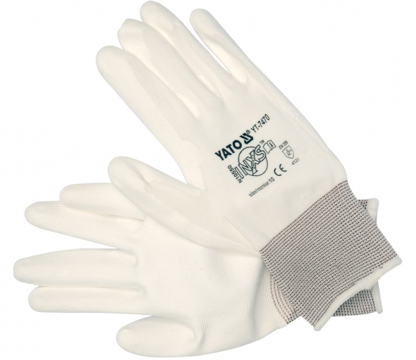 Manusi protectie YATO, nylon/PU, marimea 10, alb [0]