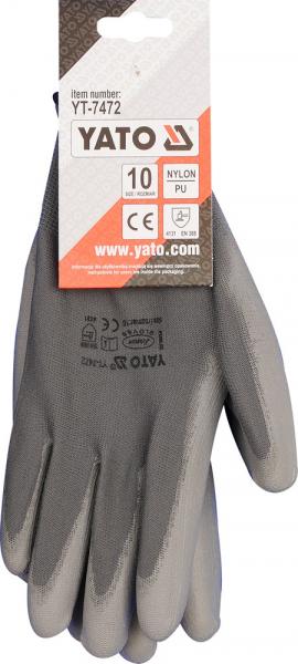 Manusi protectie YATO, nylon/PU, marimea 10, gri 1