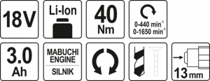 Masina de gaurit/insurubat YATO, 18V, 2 X 3Ah, Li-Ion, 40Nm 7