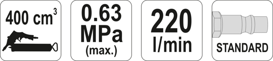 Masina de Gresat YATO, Pneumatica, 1/4, 0.63 MPA, 400CM3 4