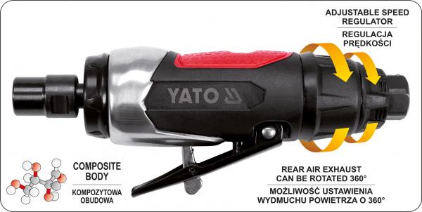 Masina de Polizat Pneumatica YATO, 6.3 Bar, 1/4 inch 2