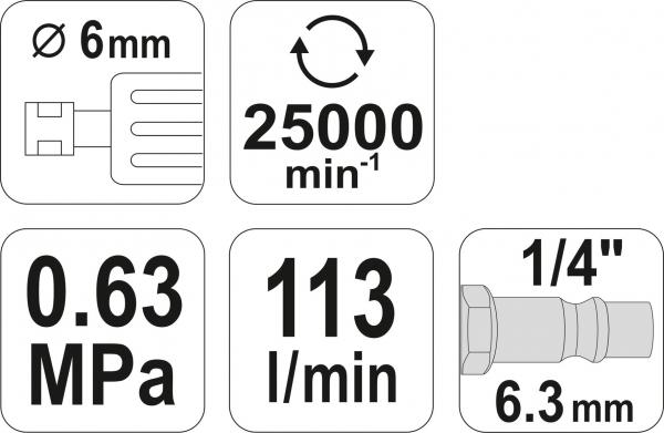 Masina de Polizat Pneumatica YATO, 6.3 Bar, 1/4 inch 4